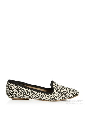 Pieces Ayakkabı Brigit Canvas Mocasin Leopard 17055584-Cre
