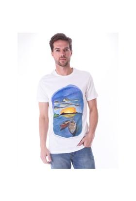 Ayyıldız 59482 Beyaz Sandal Desenli Bisiklet Yaka T-Shirt