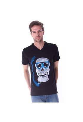 Ayyıldız 59483 Siyah Kurukafa Desen V Yaka Erkek T-Shirt