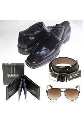 Klasik Erkek Kundura + Cüzdan + Gözlük + Kemer