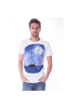 Ayyıldız 59482 Beyaz Desenli Bisiklet Yaka T-Shirt