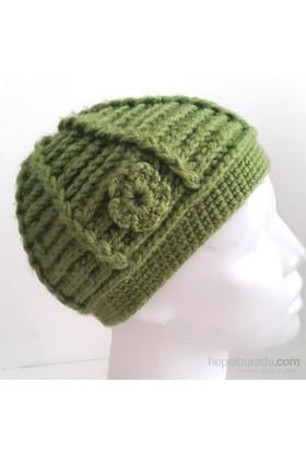 Pafuli El Örgüsü Yeşil Çiçekli Şapka