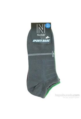 Norfolk Erkek 3'Lü Spor Patik Çorap Gri Yeşil Mor