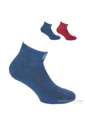 Norfolk Erkek 2'Li Spor Çorap Mavi Kırmızı