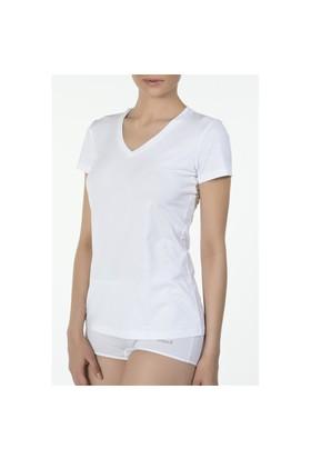 Kom Basic V Yaka Tshirt Beyaz