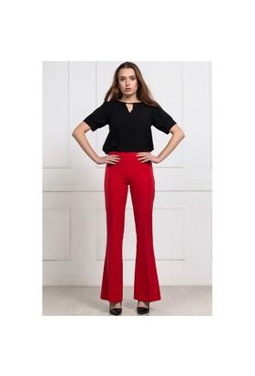 İroni Lycralı İspanyol Paça Kırmızı Pantolon