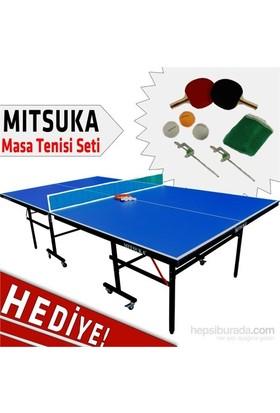 Mitsuka 501B Mavi Masa Tenis Masası + 2 raket + 3 Top ve Ağ Set HEDİYE!