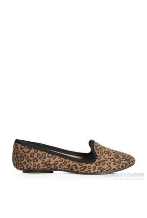 Pieces Ayakkabı Brigit Canvas Mocasin Leopard 17055585-Nwn