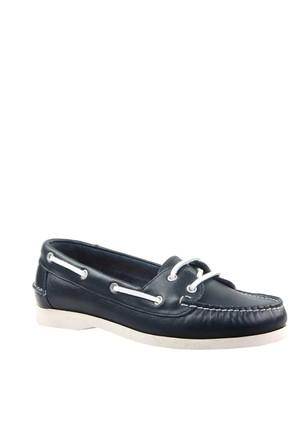 Cabani Marin Tekne Günlük Kadın Ayakkabı Lacivert Flap Deri