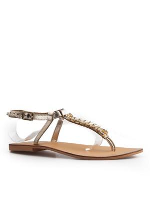 Cabani Parmak Arası Günlük Kadın Sandalet Altın Rengi Deri