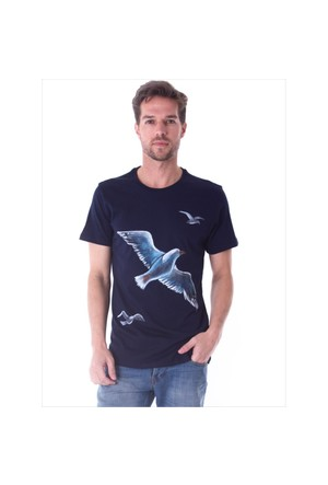 Ayyıldız 59482 Lacivert Martı Desenli Bisiklet Yaka T-Shirt