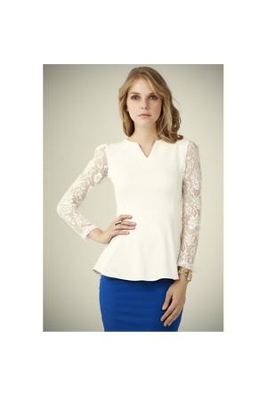 Ervans Elegant Bluz Beyaz