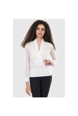 İroni Kruvaze Yaka Beyaz Şifon Bluz 3852-284B