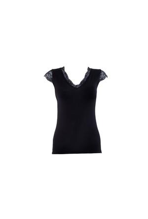 Blackspade Comfort Classics Kadın Dantelli V Yaka T-Shirt 1348 Siyah