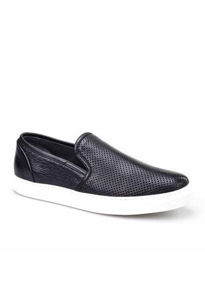 Cabani Lazerli Sneaker Erkek Ayakkabı Siyah Naturel Floter Deri