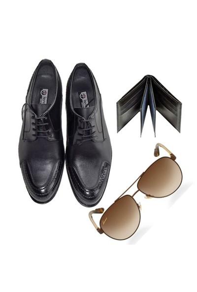 Siyah Klasik Erkek Ayakkabısı + Güneş Gözlüğü + Cüzdan