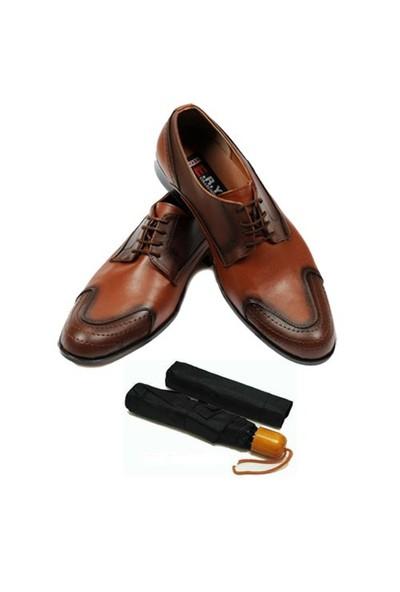 Taba Renkli Erkek Ayakkabısı + Şemsiye