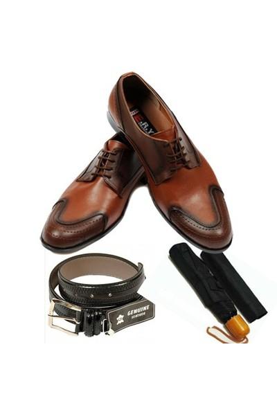 Taba Renkli Erkek Ayakkabısı + Kemer + Şemsiye