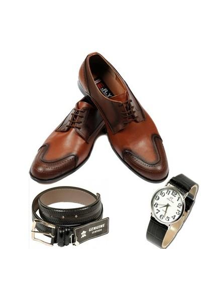 Taba Renkli Erkek Ayakkabısı + Kemer + Kol Saati