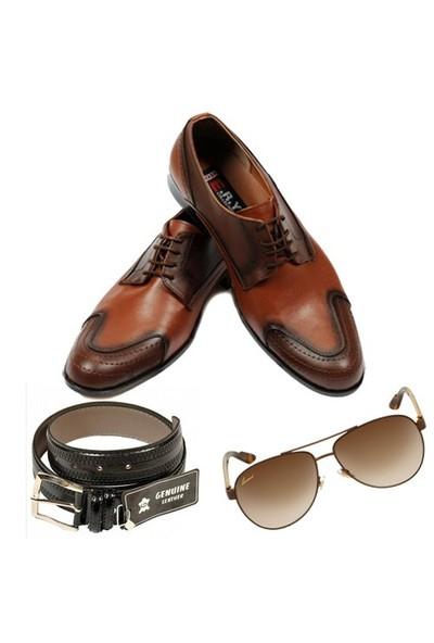Taba Renkli Erkek Ayakkabısı + Kemer + Güneş Gözlüğü