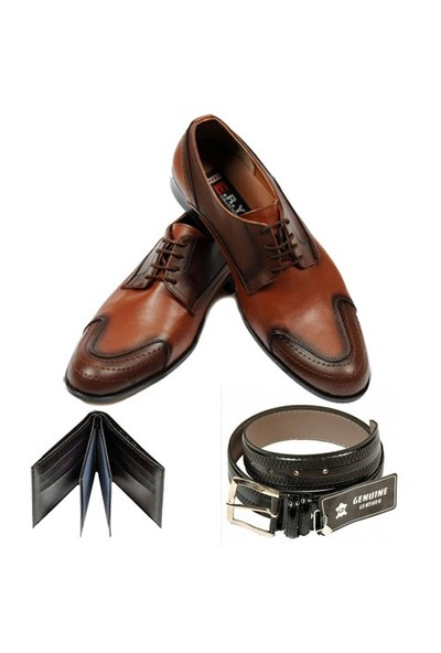 Taba Renkli Erkek Ayakkabısı + Kemer + Cüzdan