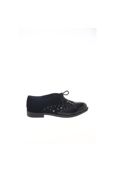 Shoes Time Oxford Babet Siyah Rugan Siyah Süet 15K501