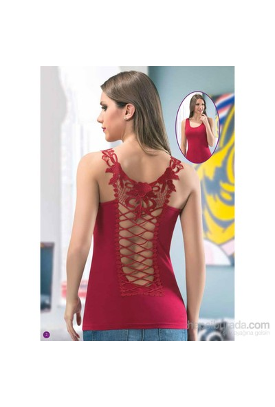Kota Sırtı Dekolteli Dantelli T-Shirt