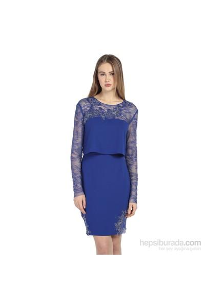 Karahasans Mavi Dantel İşlemeli Bluz