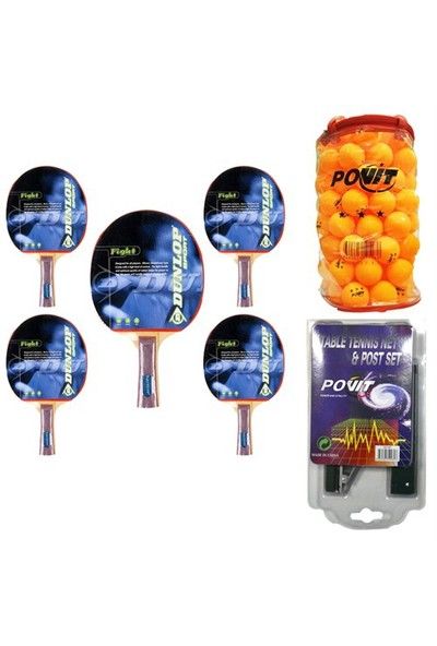 Dunlop Fight Masa Tenisi Raketi - Povit Pinpon Topu ve File Seti