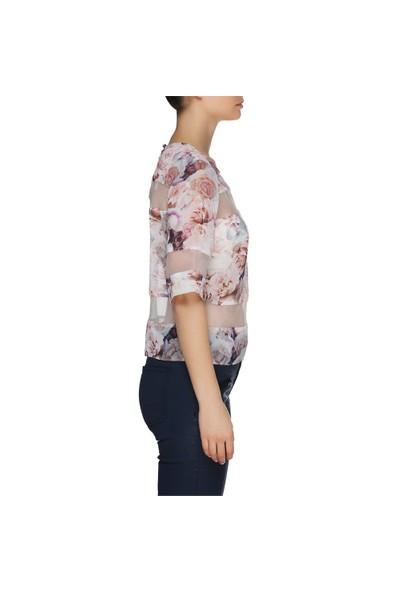 Nisantash Pudra Çiçek Desenli Bluz