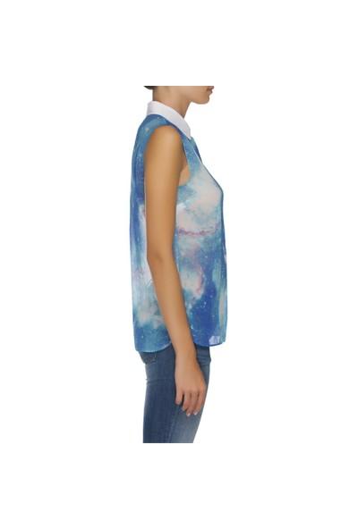 Nisantash Mavi Desenli Bluz