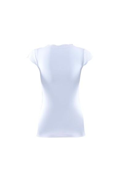 Blackspade Comfort Classics Kadın Dantelli V Yaka T-Shirt 1348 Beyaz