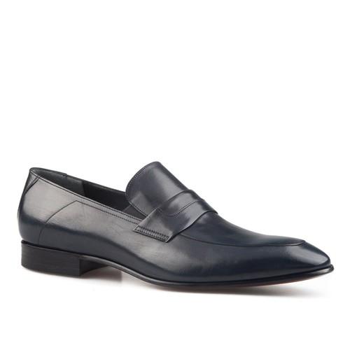 Cabani Kemerli Klasik Erkek Ayakkabı Lacivert Buffalo Deri