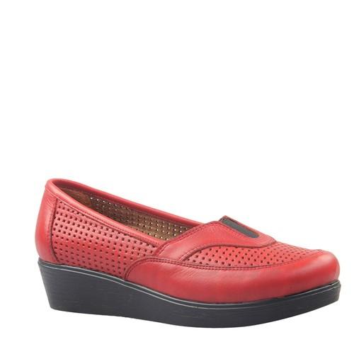 Cabani Lazerli Günlük Kadın Ayakkabı Kırmızı Deri