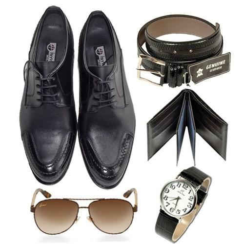 Siyah Klasik Erkek Ayakkabısı + Kemer + Cüzdan + Saat + Gözlük