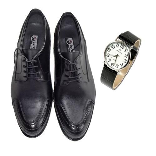 Siyah Klasik Erkek Ayakkabısı + Kol Saati