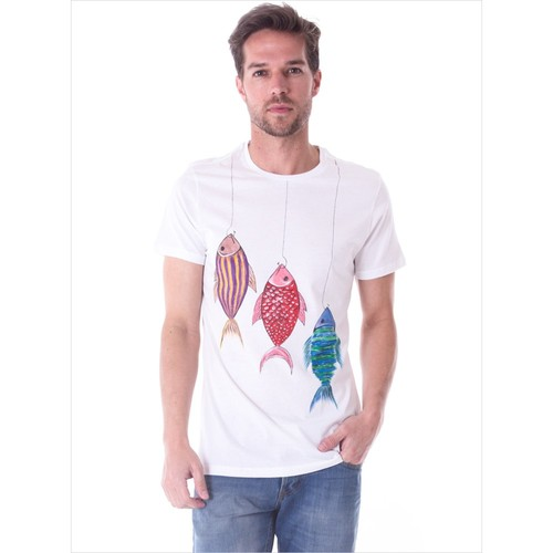 Ayyıldız 59482 Beyaz El Baskılı Bisiklet Yaka T-Shirt