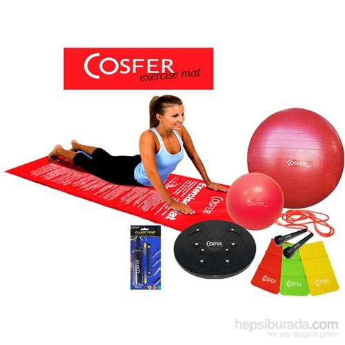 Cosfer 30Mm Aerobik Minderli New Pilates Seti Fuşya
