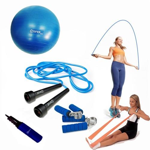 Cosfer Pilates Topu Atlama İpi Elyayı Süngerli Tam Set