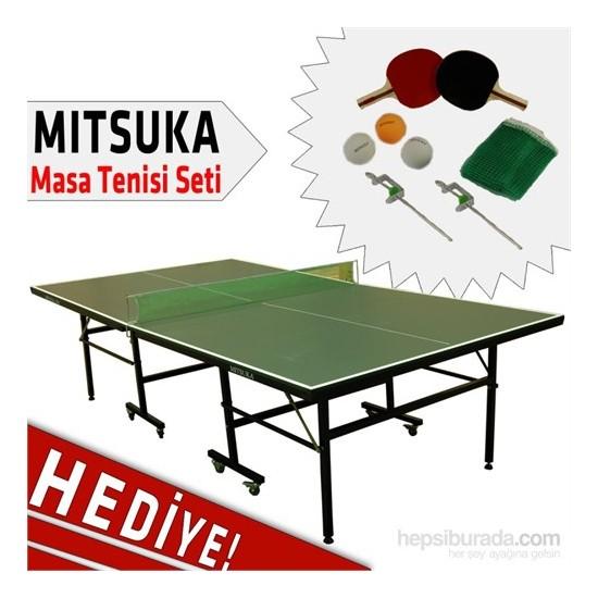 Mitsuka 501A Yeşil Masa Tenis Masası + 2 raket + 3 Top ve Ağ Set HEDİYE!