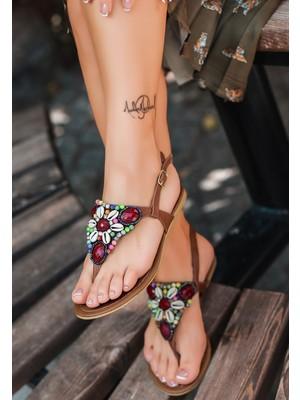 7erbilden Jov Taba Cilt Boncuk Işlemeli Sandalet