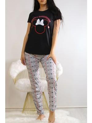 Hn Tekstil Baskılı Pijama Takımı Siyahgri - 22016.1059.