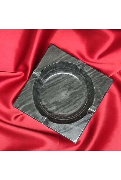 Pergamon Light Black Gerçek Mermer Küllük Kalın