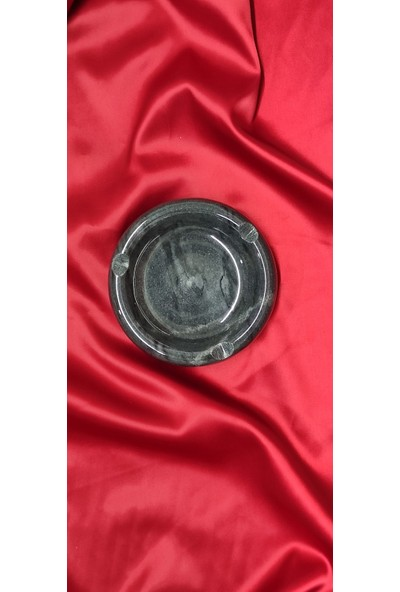 Pergamon Light Black Yuvarlak Mermer Küllük Kül Tablası