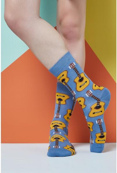 The Socks Company Acoustic Guitars Desenli Erkek Çorap 41-45 Numara