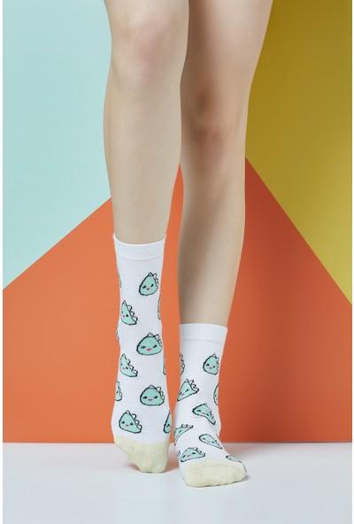 The Socks Company Blob Dinos Desenli Kadın Çorap 36-40 Numara