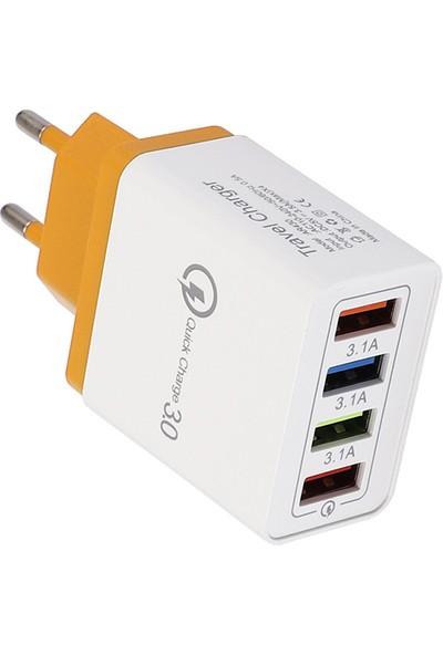 Creator Şarj Cihazı 4 USB Girişli Renkli 3A Cep Telefonu Tablet Seyahat Ab (Yurt Dışından)
