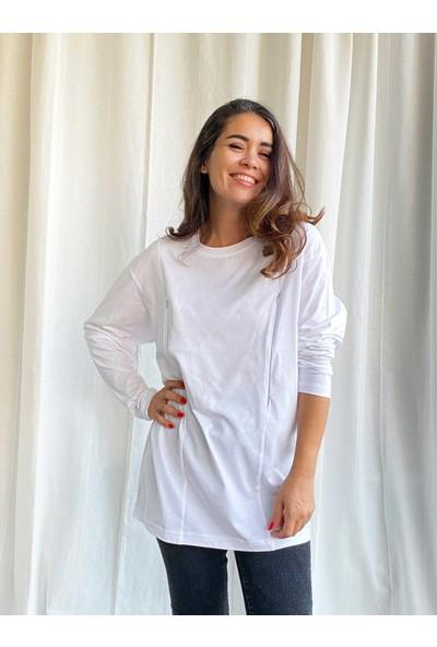 Babyboroosh Oversize Geniş Kalıp Uzun Kollu Emzirme Tişörtü- Beyaz