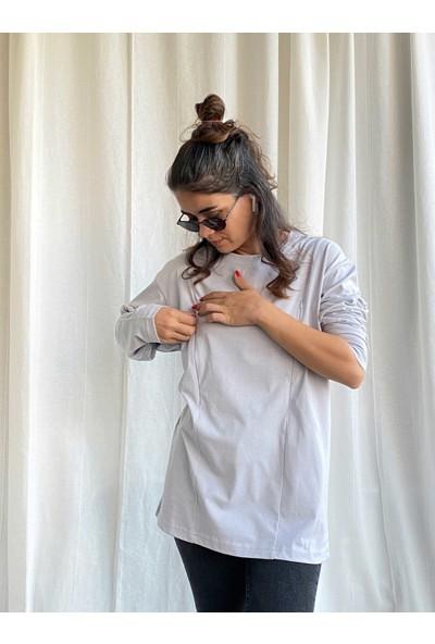 Babyboroosh Oversize Geniş Kalıp Uzun Kollu Emzirme Tişörtü