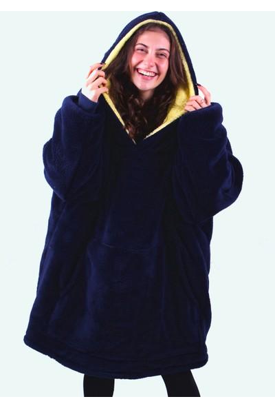 Oxy Official Huggie Oversize Polar Peluş Lacivert Sarı Sweatshirt